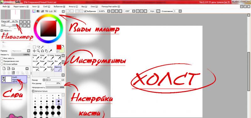 Основные инструменты в Paint Tool Sai